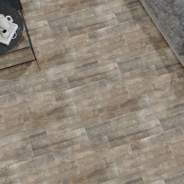 1 ANTIQUE WOOD Oxide 6x24 porcelain floor wall tile QDI Surfaces product room scene 800x800 1