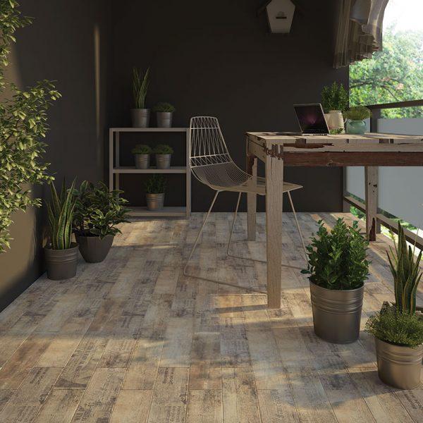 1 ANTIQUE WOOD Rust 6x24 porcelain floor wall tile QDI Surfaces product room scene 800x800 1
