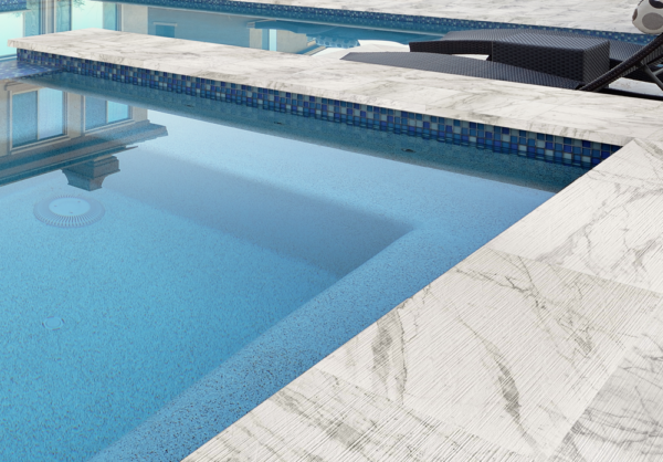 Marvel Pro Statuario Turndown Porcelain Pool Coping