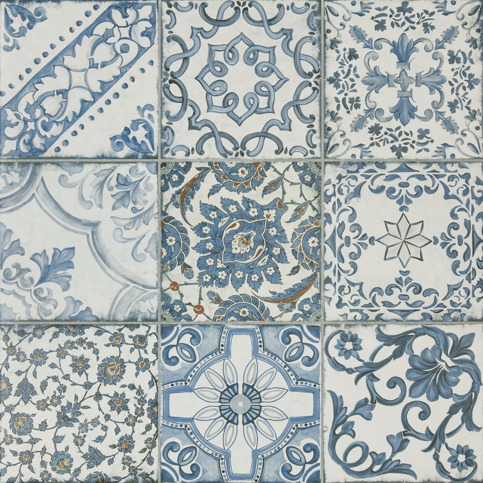 blue memory 24 x 24 porcelain deco tile qdisurfaces. Black Bedroom Furniture Sets. Home Design Ideas