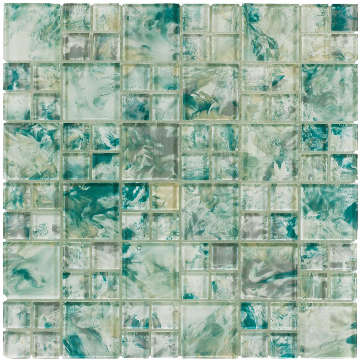 monet tonda sea green glass mosaic tile qdi surfaces. Black Bedroom Furniture Sets. Home Design Ideas