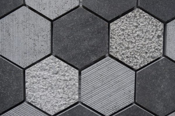 BLACK BASALT Hexagon Honed Basalt Mosaic Tile