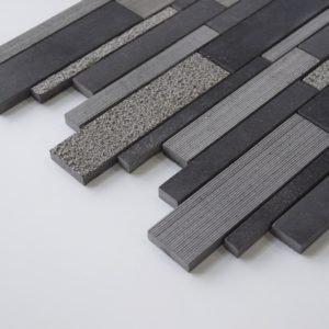 BLACK BASALT Deco Strip Basalt Mosaic Tile