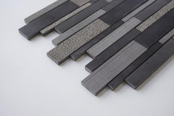 BLACK BASALT Deco Strip Basalt Mosaic Tile