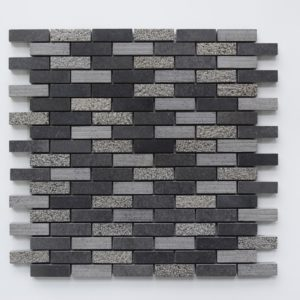 "BLACK BASALT 5/8""x2"" Honed Basalt Mosaic Tile"
