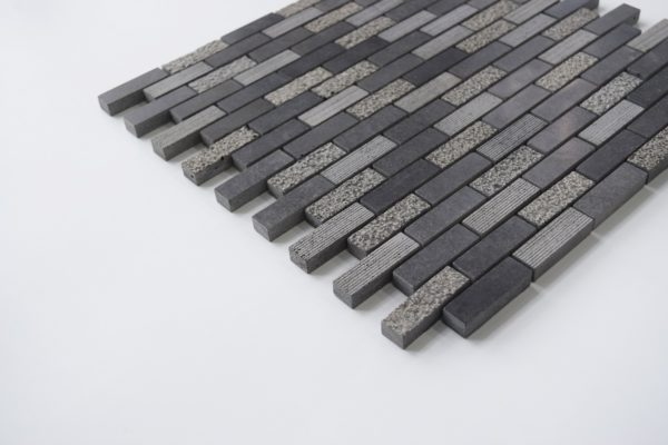 "BLACK BASALT 5/8""x2"" Honed Basalt Mosaic Tile"