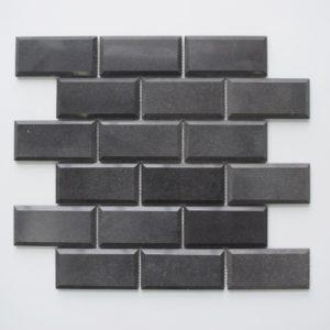 "BLACK BASALT 2""x4"" Polished Pillow Edge Basalt Mosaic Tile"