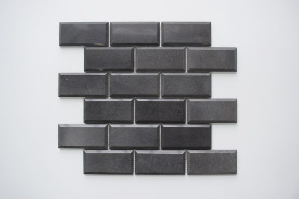 "BLACK BASALT 2""x4"" Polished Pillow Edge Basalt Mosaic Tile"