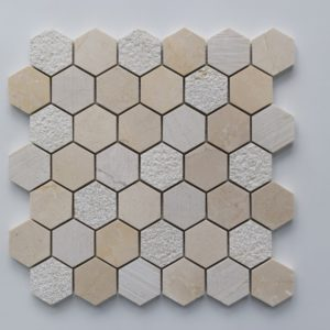 CREMA MARFIL Hexagon Honed Marble Mosaic Tile