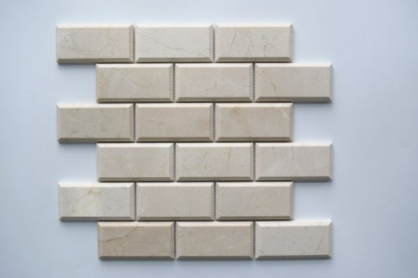"CREMA MARFIL 2""x4"" Polished Pillow Edge Marble Mosaic Tile"
