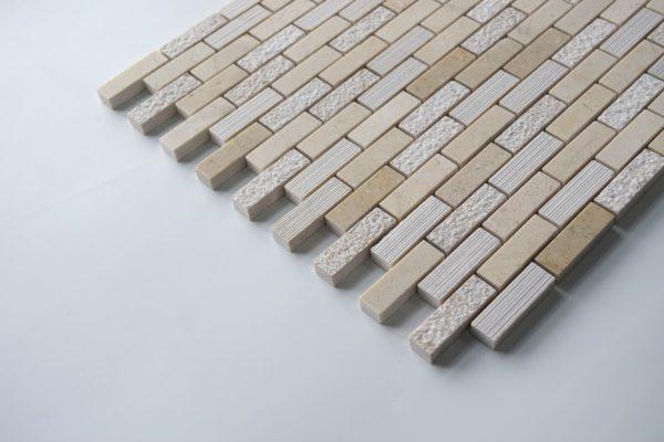 "Crema Marfil 5/8""x2"" Honed Marble Mosaic Tile"