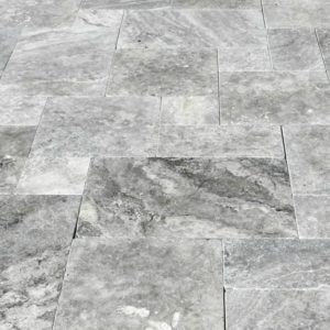 SILVER Versailles Pattern Tumbled Travertine Pavers