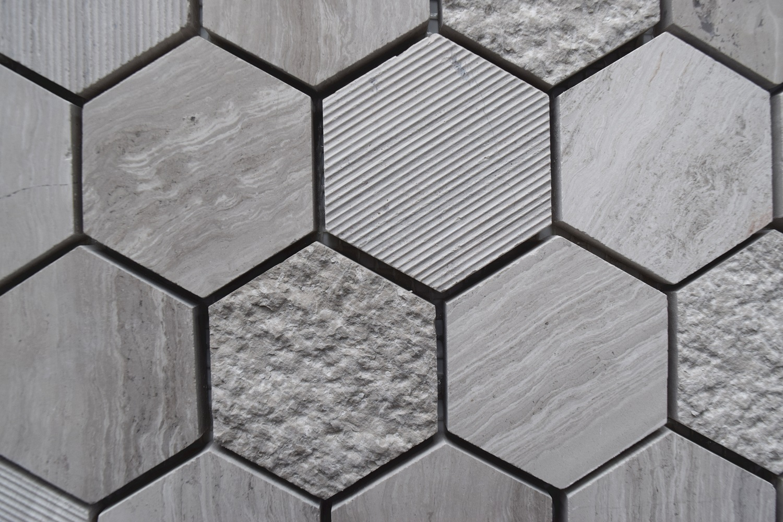 Wooden Gray Hexagon Honed Limestone Mosaic Tile