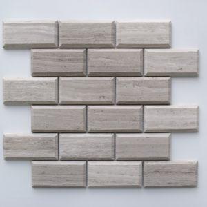 "WOODEN GRAY Honed 2""x4"" Pillow Edge Limestone Mosaic Tile"