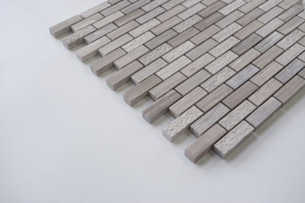 "WOODEN GRAY 5/8""x2"" Honed Limestone Mosaic Tile"