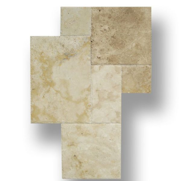 Ancient Castle Natural Stone Travertine Tile Versailles Pattern Unfilled Brushed and Chiseled Edge Tan Brown Beige Cream QDIsurfaces