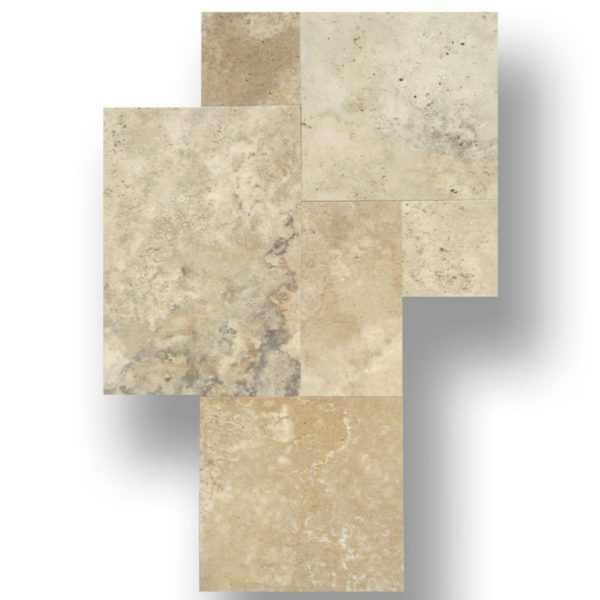 Ancient Castle Natural Stone Travertine Tile Versailles Pattern Unfilled Honed and Cross Cut Tan Brown Beige Cream QDIsurfaces