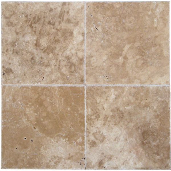 English Walnut Travertine Tile 18x18 Unfilled Brushed Chiseled Edge Floor Wall Backsplash Countertop Tub Shower Vanity Tan Brown Beige Cream QDIsurfaces