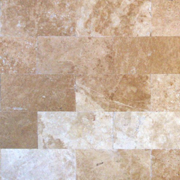 English Walnut Travertine Tile 6x12 Unfilled Brushed Floor Wall Backsplash Countertop Tub Shower Vanity Tan Brown Beige Cream QDIsurfaces