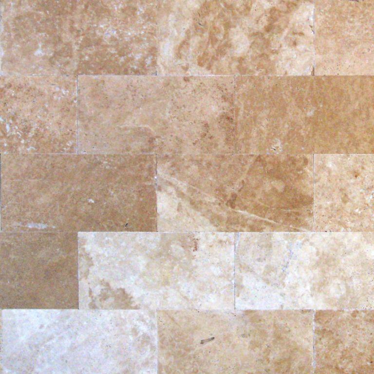 English Walnut Travertine Tile 6x12 Unfilled Brushed Floor Wall Backsplash Countertop Tub Shower Vanity Tan Brown Beige Cream QDIsurfaces