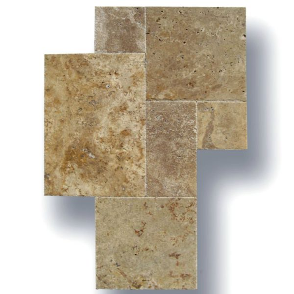 English Walnut Travertine Tile Versailles Pattern Unfilled Brushed Chiseled Edge Floor Wall Backsplash Countertop Tub Shower Vanity Tan Brown Beige Cream QDIsurfaces