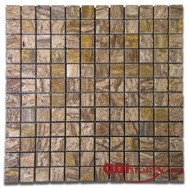 Alpine Travertine Mosaic Tile 1x1 Polished Tan Brown Beige Cream Gray Indoor Floor Wall Backsplash Countertop Tub Shower Vanity QDI