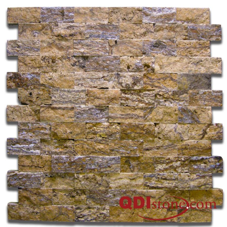 Alpine Travertine Mosaic Tile 1x2 Split Face Tan Brown Beige Cream Gray Indoor Floor Wall Backsplash Countertop Tub Shower Vanity QDI