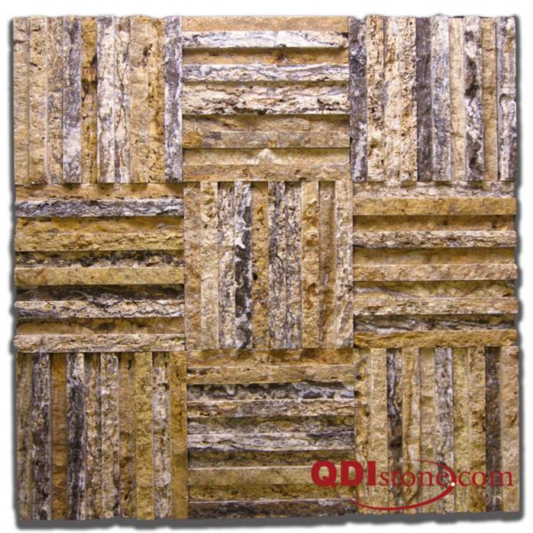 Alpine Travertine Mosaic Tile Cross Hatch 4 Split Face Tan Brown Beige Cream Gray Indoor Floor Wall Backsplash Countertop Tub Shower QDI