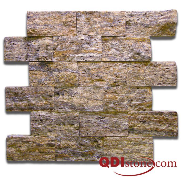 Alpine Travertine Split Face Tile 2x4 Split Face Tan Brown Beige Cream Gray Indoor Outdoor Wall Backsplash Tub Shower Vanity QDIsurfaces
