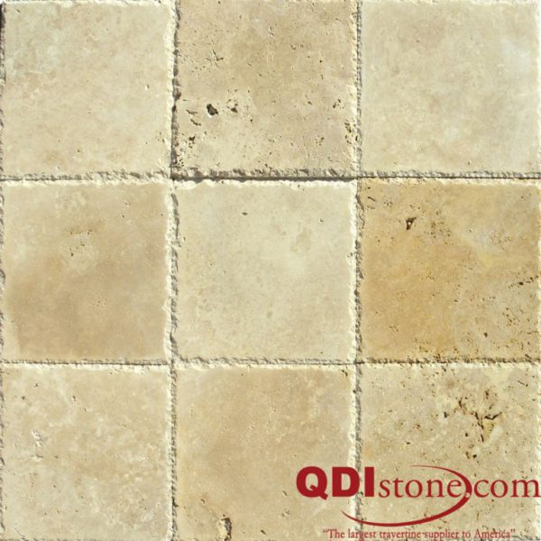 Ancient Castle Travertine Paver 12x12 Brushed Chiseled Edge Brown Tan Beige Cream Gray White Outdoor Floor Wall Pool Patio Backyard