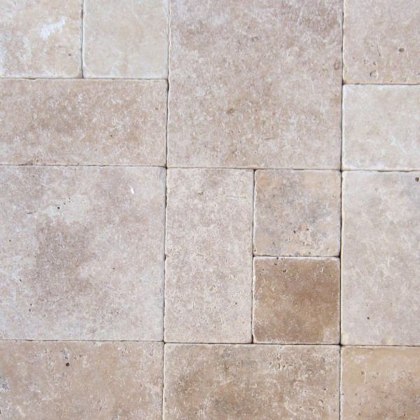 Ancient Castle Travertine Paver 3 pc Roman Pattern Tumbled Brown Tan Beige Cream Gray White Outdoor Floor Wall Pool Patio Backyard Tub