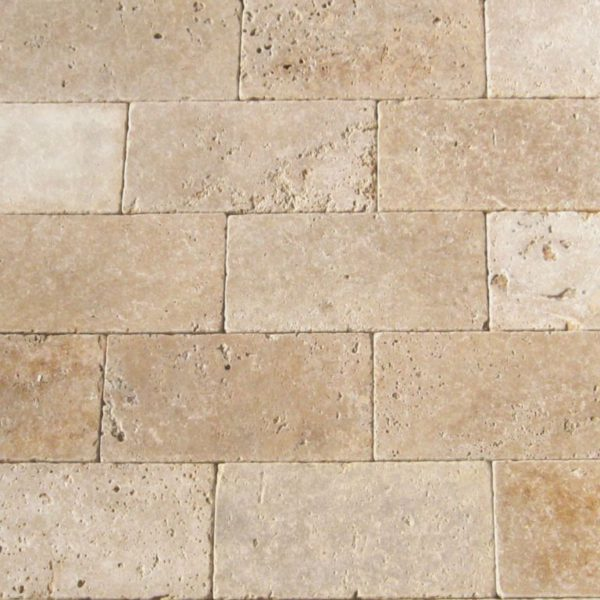 Ancient Castle Travertine Paver 6x12 Tumbled Brown Tan Beige Cream Gray White Outdoor Floor Wall Pool Patio Backyard Tub Shower Vanity