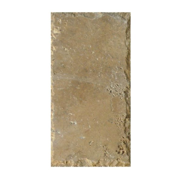 Ancient Castle Travertine Paver 6x12 Unfilled Brushed Chiseled Brown Tan Beige Cream Gray White Outdoor Floor Wall Pool Patio Backyard