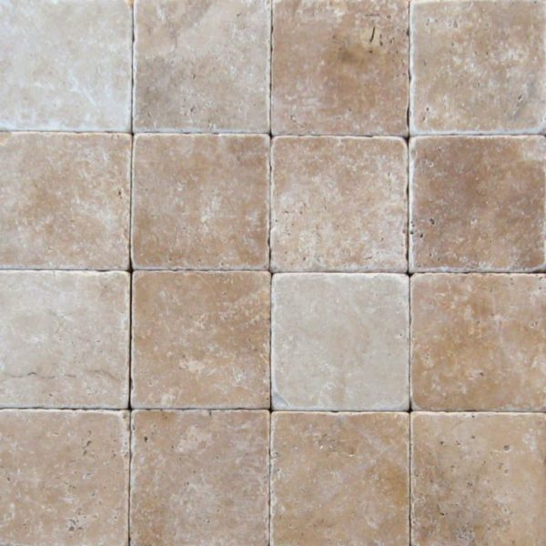 Ancient Castle Travertine Paver 6x6 Tumbled Brown Tan Beige Cream Gray White Outdoor Floor Wall Pool Patio Backyard Tub Shower Vanity