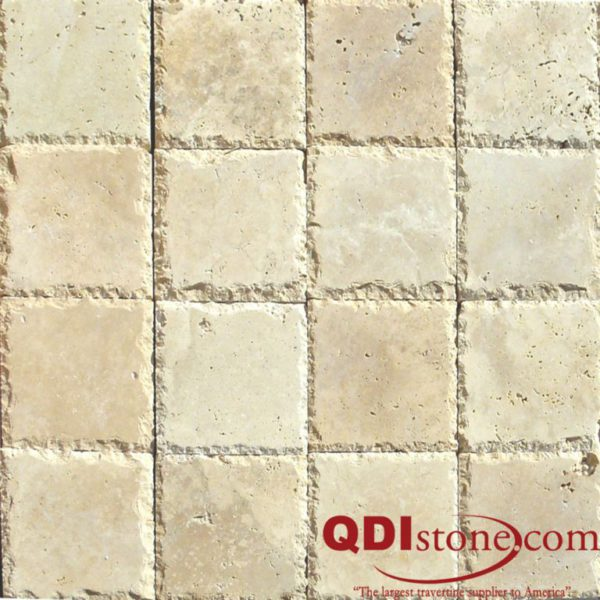 Ancient Castle Travertine Paver 6x6 Unfilled Brushed Chiseled Brown Tan Beige Cream Gray White Outdoor Floor Wall Pool Patio Backyard