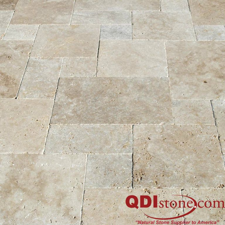 Tumbled Light Beige Stone Effect Travertine Wall Floor: Ancient Castle Travertine Natural Stone Paver