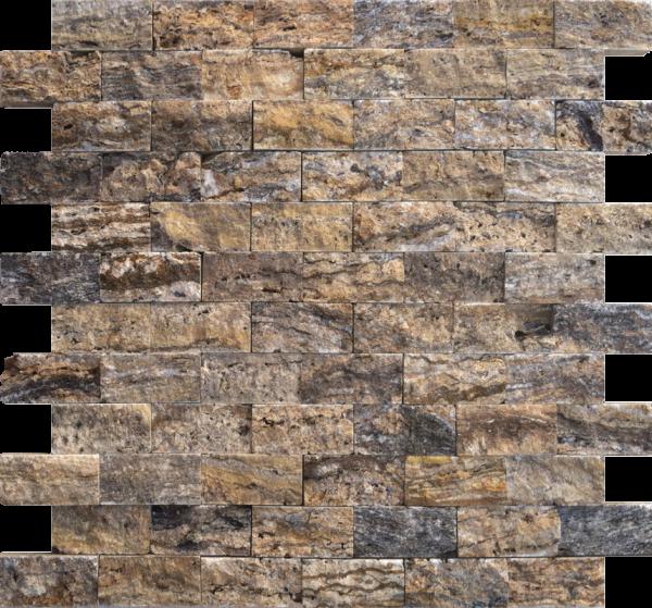 "Alpine 1""x2"" Travertine Split-face Mosaic Tile"