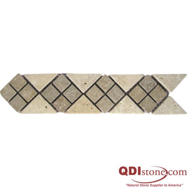 BRD 02 112 Travertine Border Tile Noche Dot 2 38x13 Tumbled Tan Brown Beige Cream Indoor Wall Backsplash Tub Shower Vanity QDIsurfaces