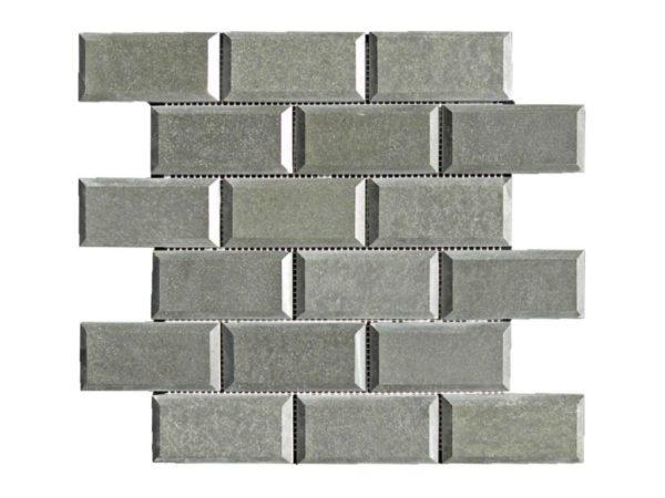 Black Basalt Mosaic Tile 2x4 Polished Pillow Edge 2 Gray Indoor Floor Wall Backsplash Countertop Tub Shower Vanity QDIsurfaces
