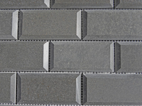 Black Basalt Mosaic Tile 2x4 Polished Pillow Edge 3 Gray Indoor Floor Wall Backsplash Countertop Tub Shower Vanity QDIsurfaces
