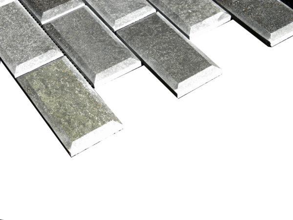 Black Basalt Mosaic Tile 2x4 Polished Pillow Edge Gray Indoor Floor Wall Backsplash Countertop Tub Shower Vanity QDIsurfaces