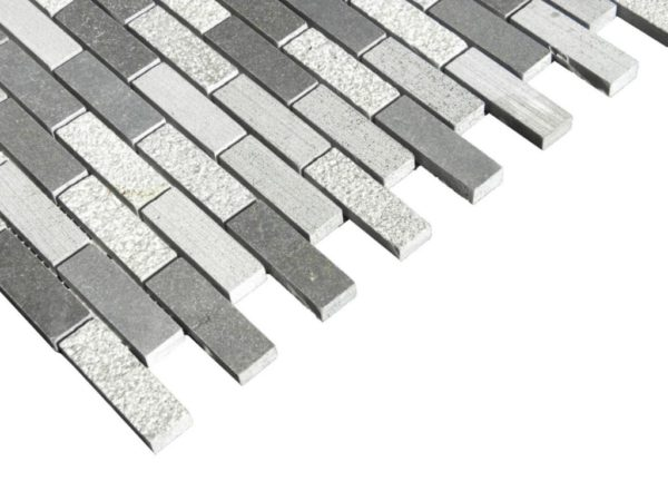 Black Basalt Mosaic Tile 58x2 Honed 2 Gray Indoor Floor Wall Backsplash Countertop Tub Shower Vanity QDIsurfaces