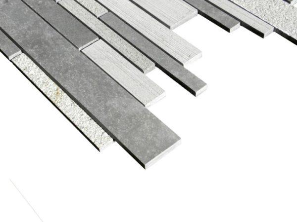Black Basalt Mosaic Tile Deco Strip Honed 2 Gray Indoor Floor Wall Backsplash Countertop Tub Shower Vanity QDIsurfaces