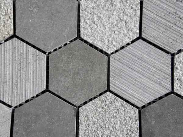 Black Basalt Mosaic Tile Hexagon Honed 2 Gray Indoor Floor Wall Backsplash Countertop Tub Shower Vanity QDIsurfaces