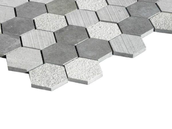 Black Basalt Mosaic Tile Hexagon Honed 3 Gray Indoor Floor Wall Backsplash Countertop Tub Shower Vanity QDIsurfaces
