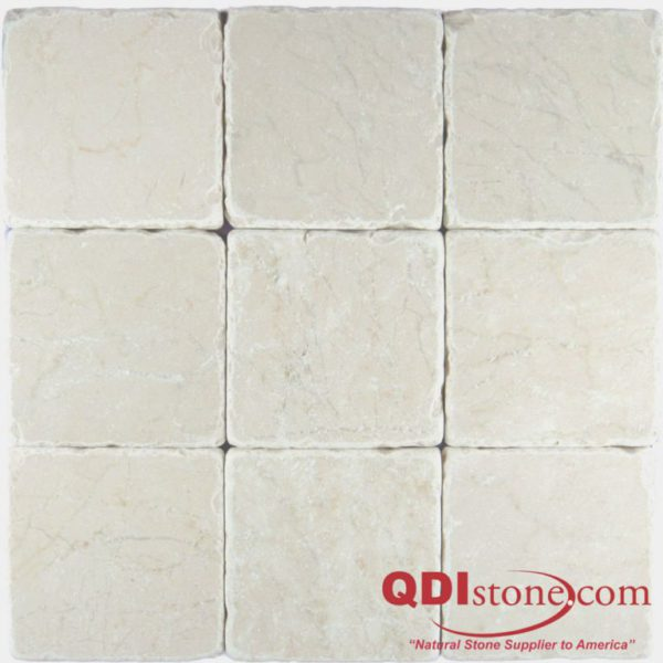 Botticino Marble Tile 4x4 Tumbled Gray White Indoor Floor Wall Backsplash Tub Shower Vanity QDIsurfaces