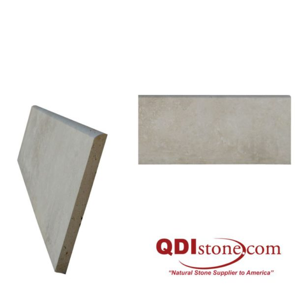 Cappuccino Travertine Baseboard Tile 6x24 Honed Tan Brown Beige Cream Indoor Wall Backsplash Tub Shower Vanity QDIsurfaces