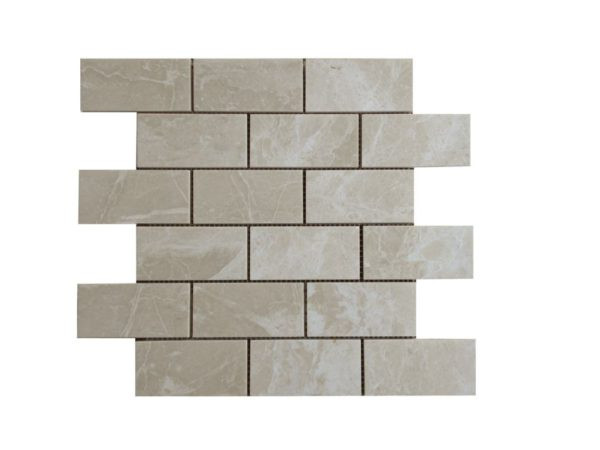 Crema Marfil Marble Mosaic Tile 2x4 Polished Beige Cream Gray Indoor Floor Wall Backsplash Tub Shower Vanity QDI