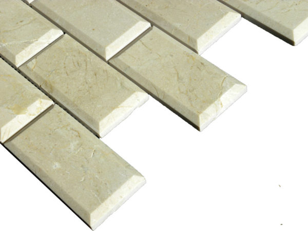 Crema Marfil Marble Mosaic Tile 2x4 Polished Pillow Edge 3 Beige Cream Gray Indoor Floor Wall Backsplash Tub Shower Vanity QDI
