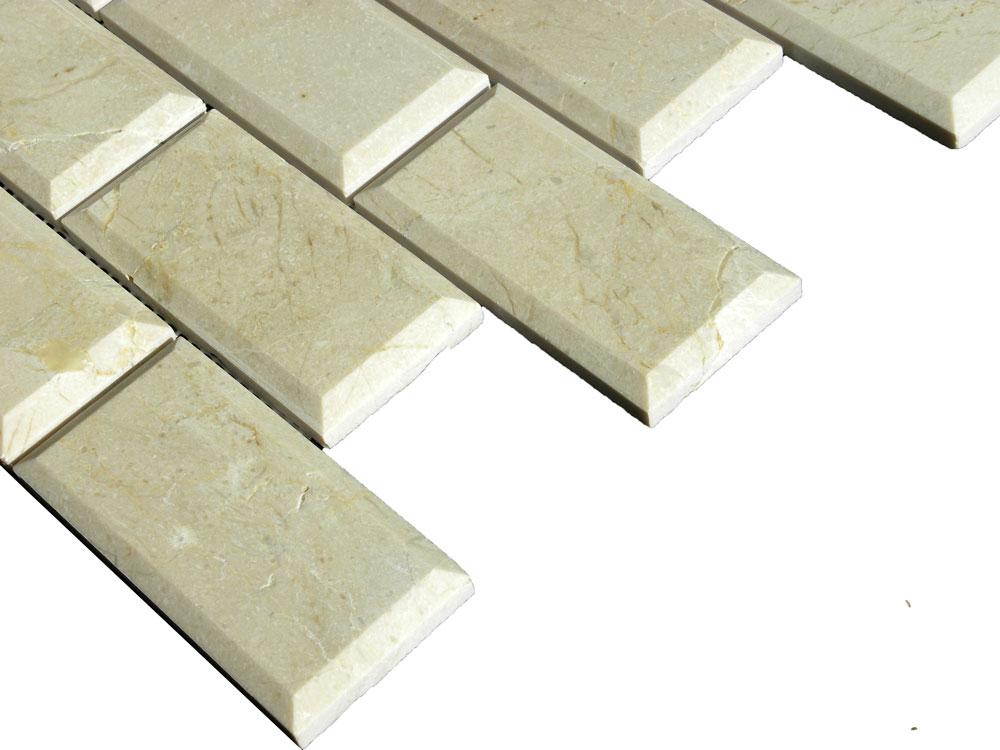 Crema Marfil Marble Mosaic Tile 2x4 Polished Pillow Edge 3 Beige Cream Gray Indoor Floor Wall Backsplash Tub Shower Vanity QDI